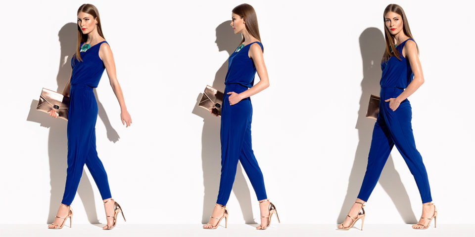 Anthea Crawford - Cobalt Stretch Jersey Tailored Jumpsuit
