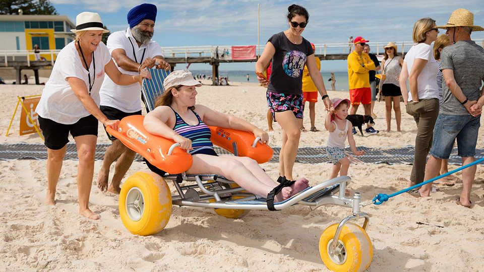 All-terrain wheelchairs will be available at Brighton's Accessible Beach Day. Image: Accessible Beaches (Facebook).